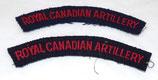 Paire de titles Royal Canadian Artillery Canada WW2/après-guerre