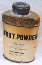 Boite Foot Powder avec étiquette datée 1940 BEF GB WW2