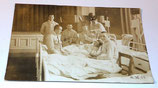 Carte postale photo convalescents hôpital militaire allemand WW1