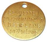 Plaque nominative pour épaulettes d'un commandant du 3ème de Ligne/Régiment d'Infanterie français WW1