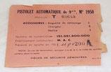 Etiquette du contenu de la boite de stockage du pistolet automatique de 9mm Mle 1950, 1961 MAC 50 armée française Algérie