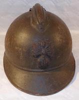 Casque Adrian modèle 1915 Infanterie repeint en kaki 1930/1940 français WW1/WW2