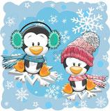 2 pinguins met sneeuwvlokken