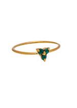 Triple Green stone ring Brass
