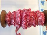 Elastisches Rüschenband Vichy Karo 19mm Rot