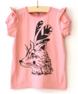 Tshirt short sleeve pink fox head - Hebe