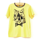 Tshirt yellow cat head - Hebe