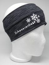Funktions Stirnband Schneeverliebt schwarz-grau/weiß