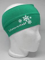 Baumwoll Stirnband Schneeverliebt smaragd/weiß