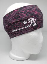 Funktions Stirnband Schneeverliebt schwarz-pink/weiß