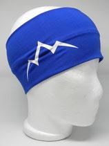 Baumwoll Stirnband Les Alpes royalblau/weiß