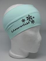 Baumwoll Stirnband Schneeverliebt mint/schwarz