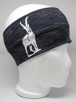 Funktionsstirnband Steinbock schwarz-grau meliert/weiß
