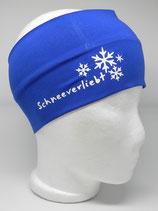 Baumwoll Stirnband Schneeverliebt royalblau/weiß
