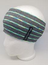 Funktionsstirnband Stripes grau mit lime/blau/türkis