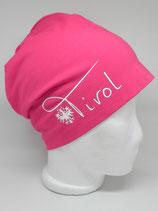 Beanie Tirol mit Adler pink/weiß