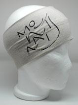 Headband Mountains Schriftzug hellgrau/schwarz