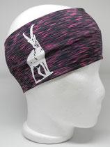 Funktionsstirnband Steinbock schwarz-pink meliert/weiß