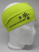 Baumwoll Stirnband Schneeverliebt lime/schwarz