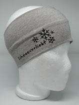 Baumwoll Stirnband Schneeverliebt helltaupe-melange/schwarz