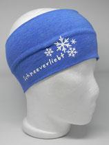 Baumwoll Stirnband Schneeverliebt jeansblau/weiß
