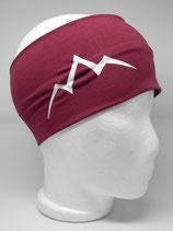 Baumwoll Stirnband Les Alpes weinrot/weiß