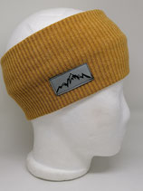 Stirnband Mountain Label Strick senfgelb