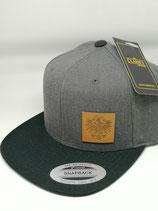 Yupoong Classic Snapback mit Echtleder Adler dunkelgrau/schwarz