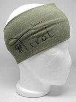 Baumwoll Stirnband Tirol mit Adler khaki/schwarz