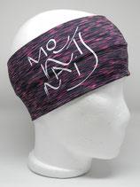 Funktionsstirnband Headband pink/schwarz Mountains Schriftzug weiss
