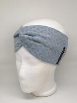 Strickstoff Turbanstirnband Punkte hellblau auf grau