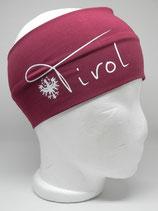 Baumwoll Stirnband Tirol mit Adler weinrot/weiß