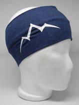 Baumwoll Stirnband Les Alpes nachtblau/weiß