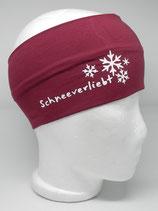 Baumwoll Stirnband Schneeverliebt weinrot/weiß