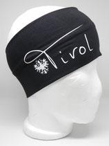 Baumwoll Stirnband Tirol mit Adler schwarz/weiß