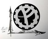 fimbulwinta logo patch, für die uniformen der legionen des tekknomanten. gewebter patch, 10x10cm, schwarz/weiss.