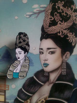 """Emaille Pin """"Schneegeisha"""" / Emaille pin badge """"Asia girl with snow foxes"""""""