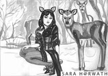"""Original sketch """"Deers in snow"""", picture from the month December + Set"""