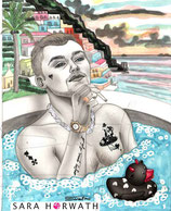 """Original painting """"the naples dug"""", picture for tattoo stamps"""