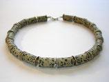 Dalmatiner Jaspis Kette mit Silber Zwischenteilen