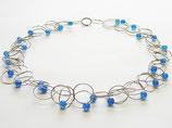 Silber Kette mit Ringen und Blaue Achat Perlen