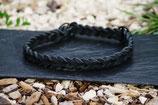 Zugstopp-Lederhalsband schwarz
