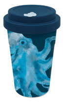 "heyholi® Woodcup ""Octo Olaf blue"" Bambusbecher"