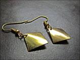 Gebogene Quadrat-Plättchen,  goldene Ohrringe