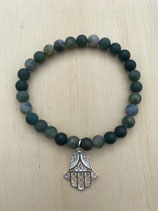Bracelet Moosachat Hand der Fatima, 19cm