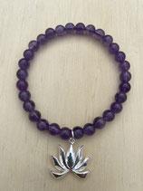 Bracelet Amethyst Lotus, 19cm