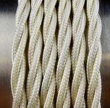 Stoffkabel  3x0,75mm²  hellgold verdrillt 1 Meter