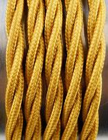 Stoffkabel  3x0,75mm²  gold verdrillt 1 Meter