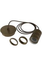 Retro Pendelset E27, Antique Bronze, mit Zusatz Ring zum Abdecken der Elektronik bei der Lampe (ohne Lampe)