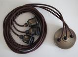 Vintage 3xE27 Pendelset, Farbe Anitque gebürstet, Textilkabel Braun
